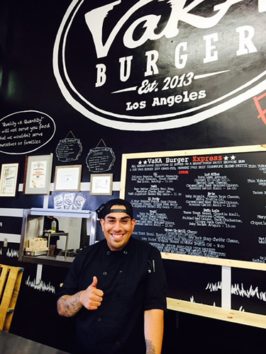 Chef Aaron J. Perez owner of Vaka Burger in LA