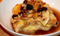 Capirotada with Rum Soaked Raisins and Apples