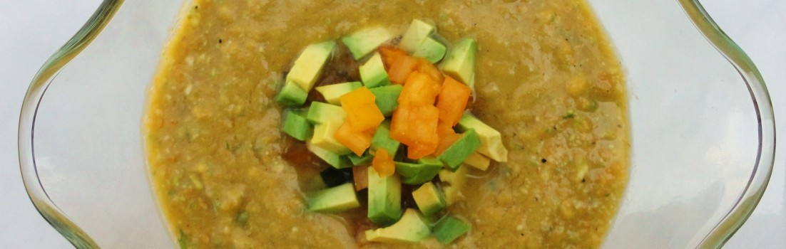 Avocado and Yellow Heirloom Tomato Gazpacho