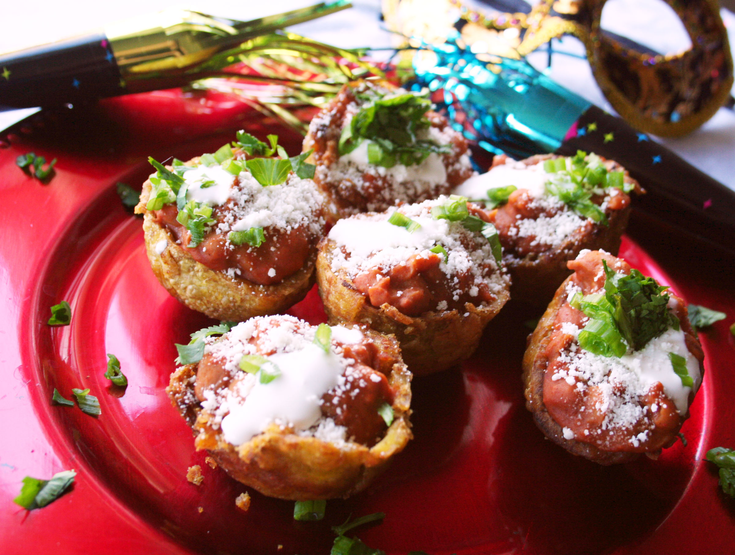 Platano cups with chorizo beans