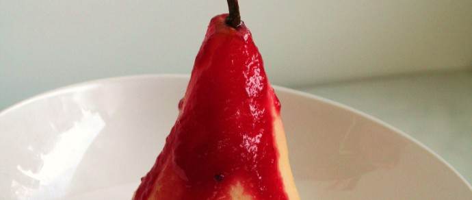 The Perfect Pear: Tequila Poached Pear with a Cactus Pear Coulis