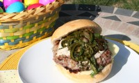 Springtime Lamb Burgers with Rajas and Grilled Onions