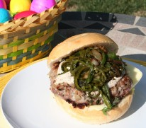 Lamb Burger with Rajas Poblanas. Happy Easter from LatinoFoodie.