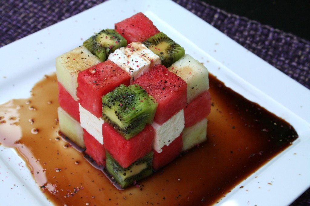 Watermelon Rubik's Cube Salad