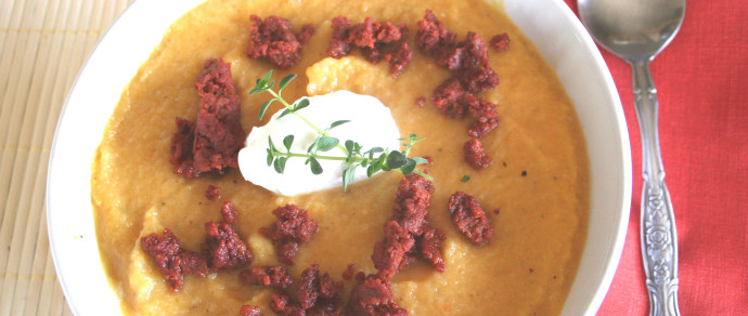 Butternut Squash Soup with Golden Beets and Crumbled Mexican Chorizo