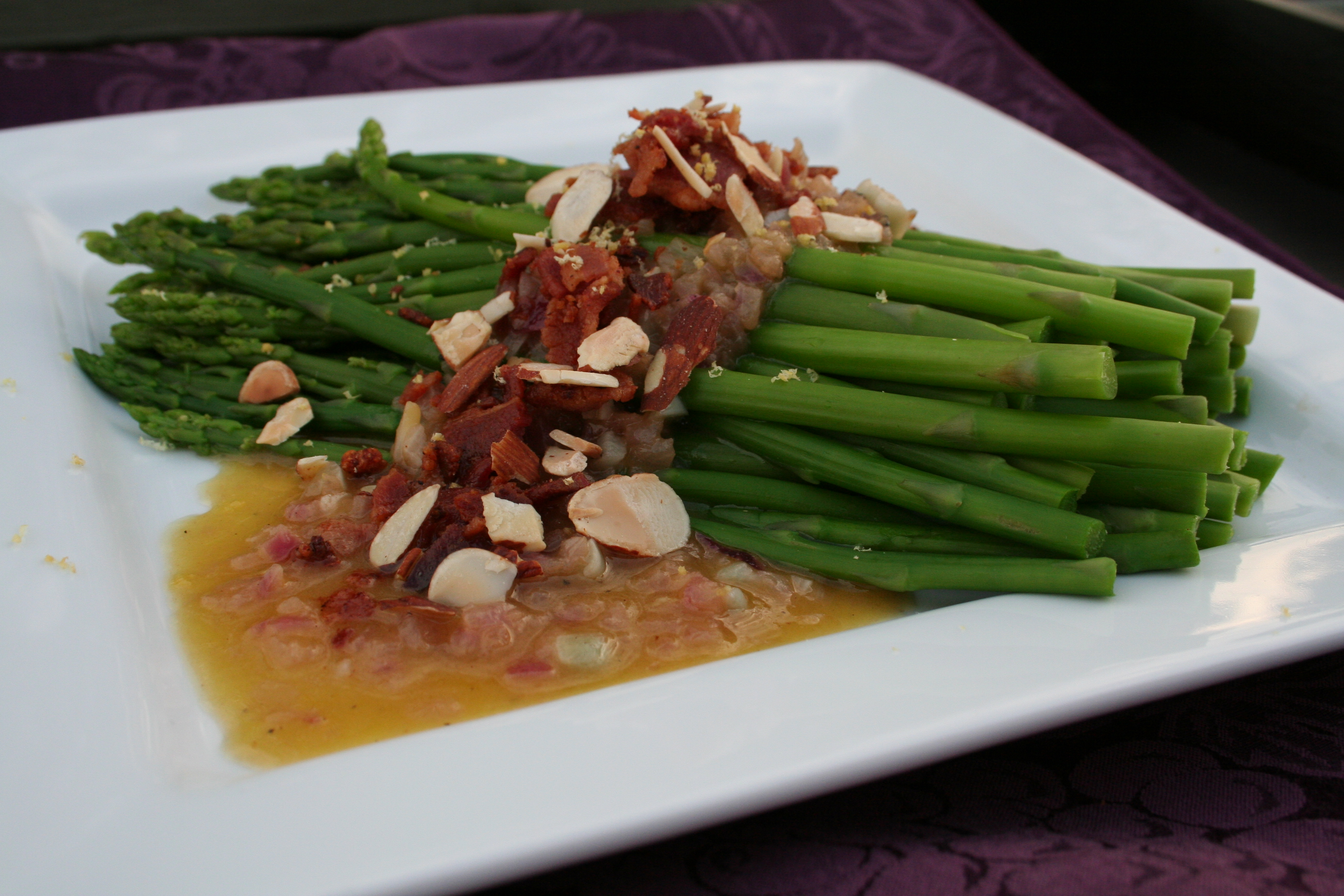 Asparagus with Warm Bacon Shallot Vinaigerette