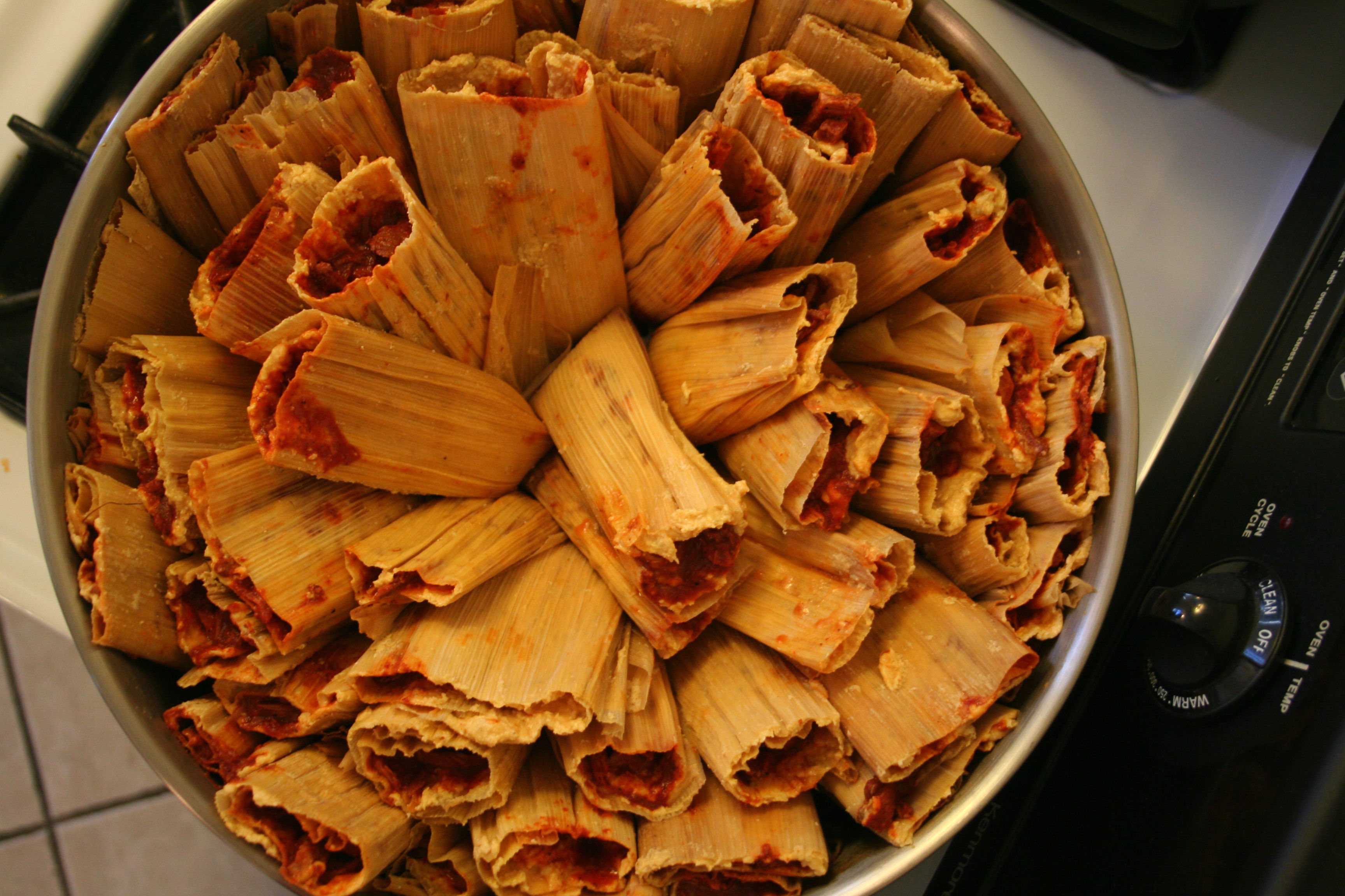 Tamales ready to steam