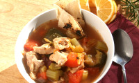 Chicken Soup with Roasted Vegetables