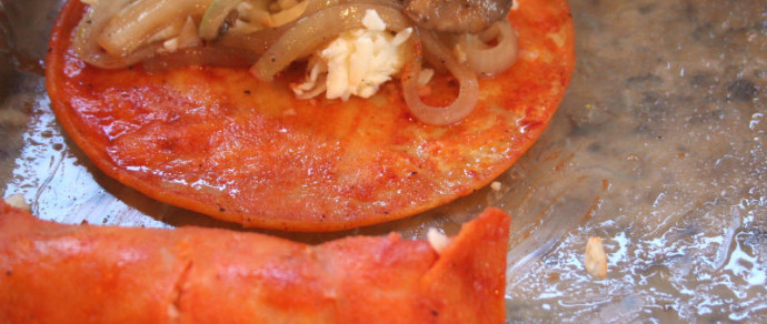 Red Enchiladas Stuffed with Mushrooms and Onions