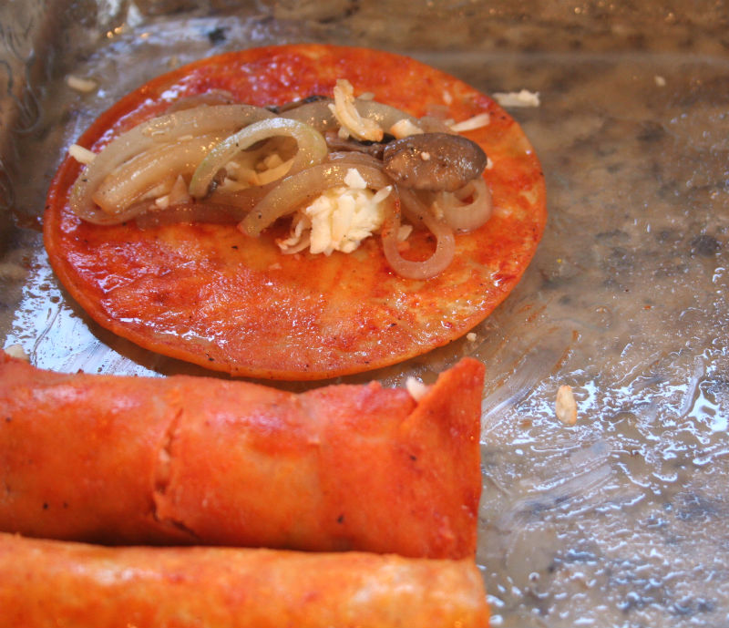 Rolling the enchiladas