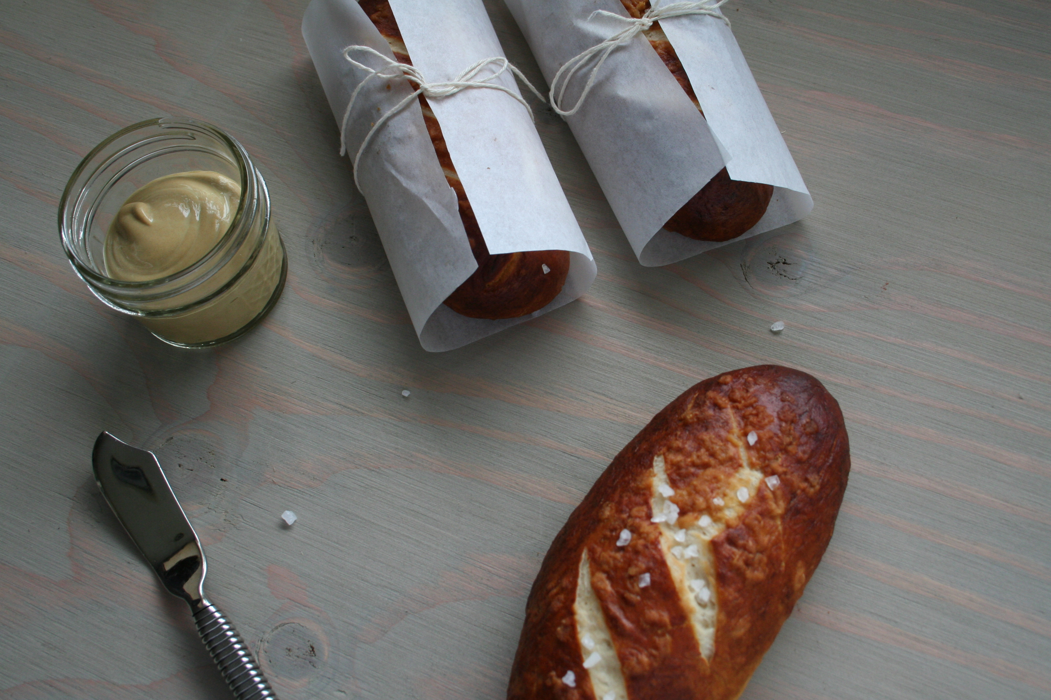 Warm Pretel Rolls with Spicy Mustard