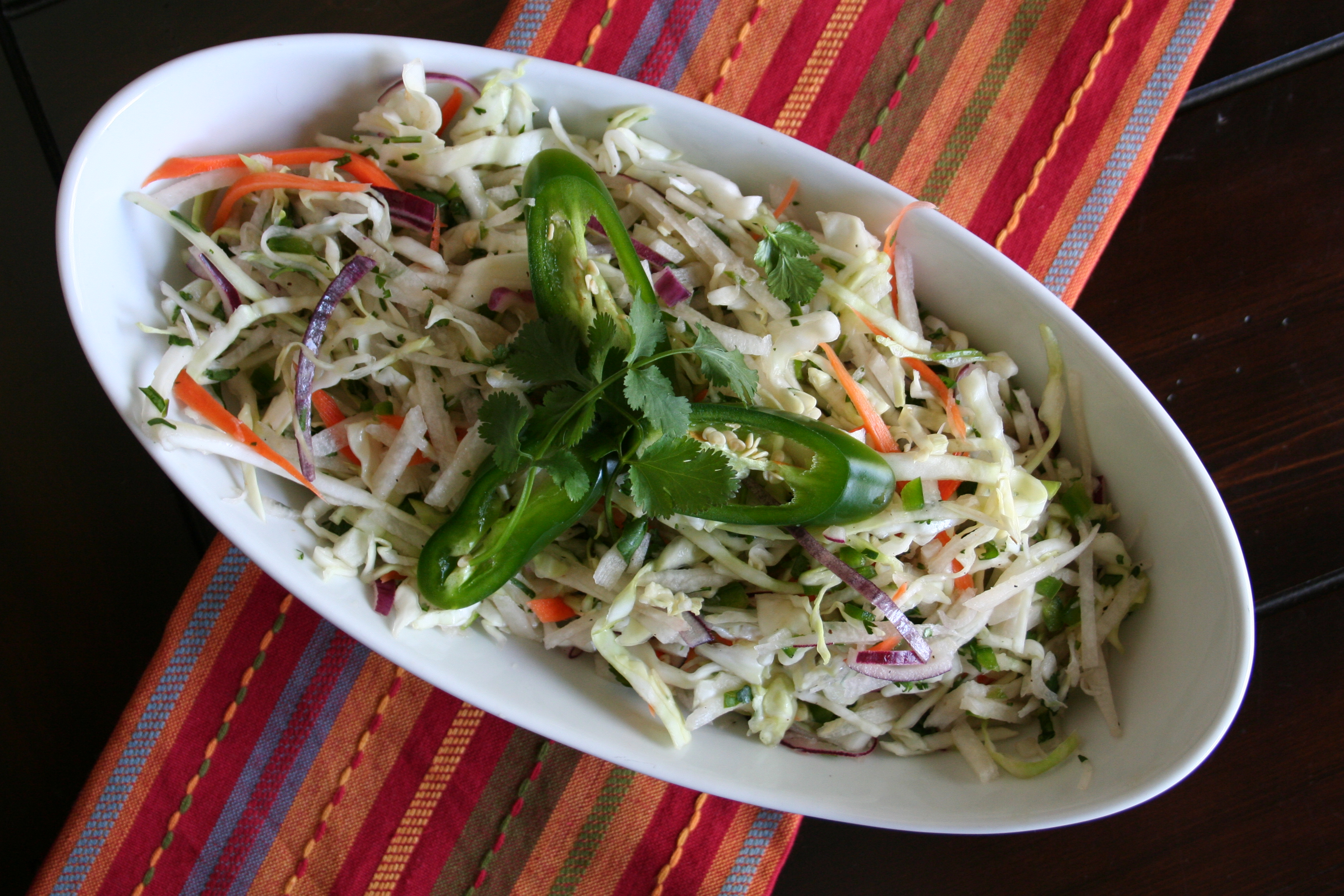Jicama and cabbage slaw a perfect side dish for seafood for Side dishes for fish tacos