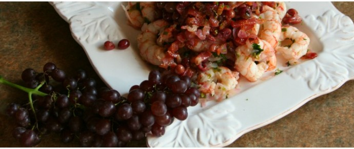 SAUTÉED SHRIMP WITH SHALLOTS AND CHAMPAGNE GRAPES