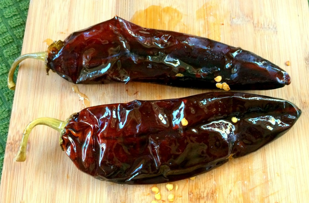 Chiles steeped with simple syrup
