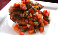 CHUNKY PERSIMMON SALSA BRIGHTENS ANY PLATE OF CHICKEN OR FISH