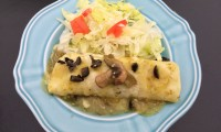 GREEN CHILE ENCHILADAS with Nopalitos and Mushrooms