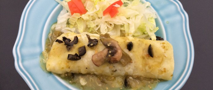GREEN CHILE ENCHILADAS RECIPE MADE WITH NOPALES AND MUSHROOMS
