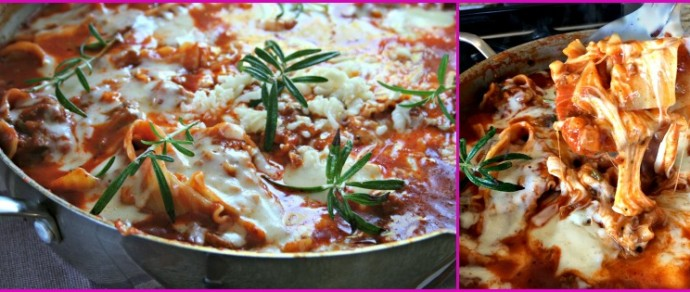 Spicy Skillet Lasagna with Mushrooms and Jalapeños #Saucesome