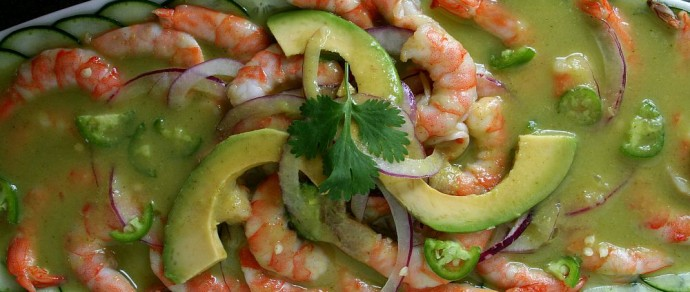 SHRIMP AGUACHILE WITH SPICY HASS AVOCADO SAUCE