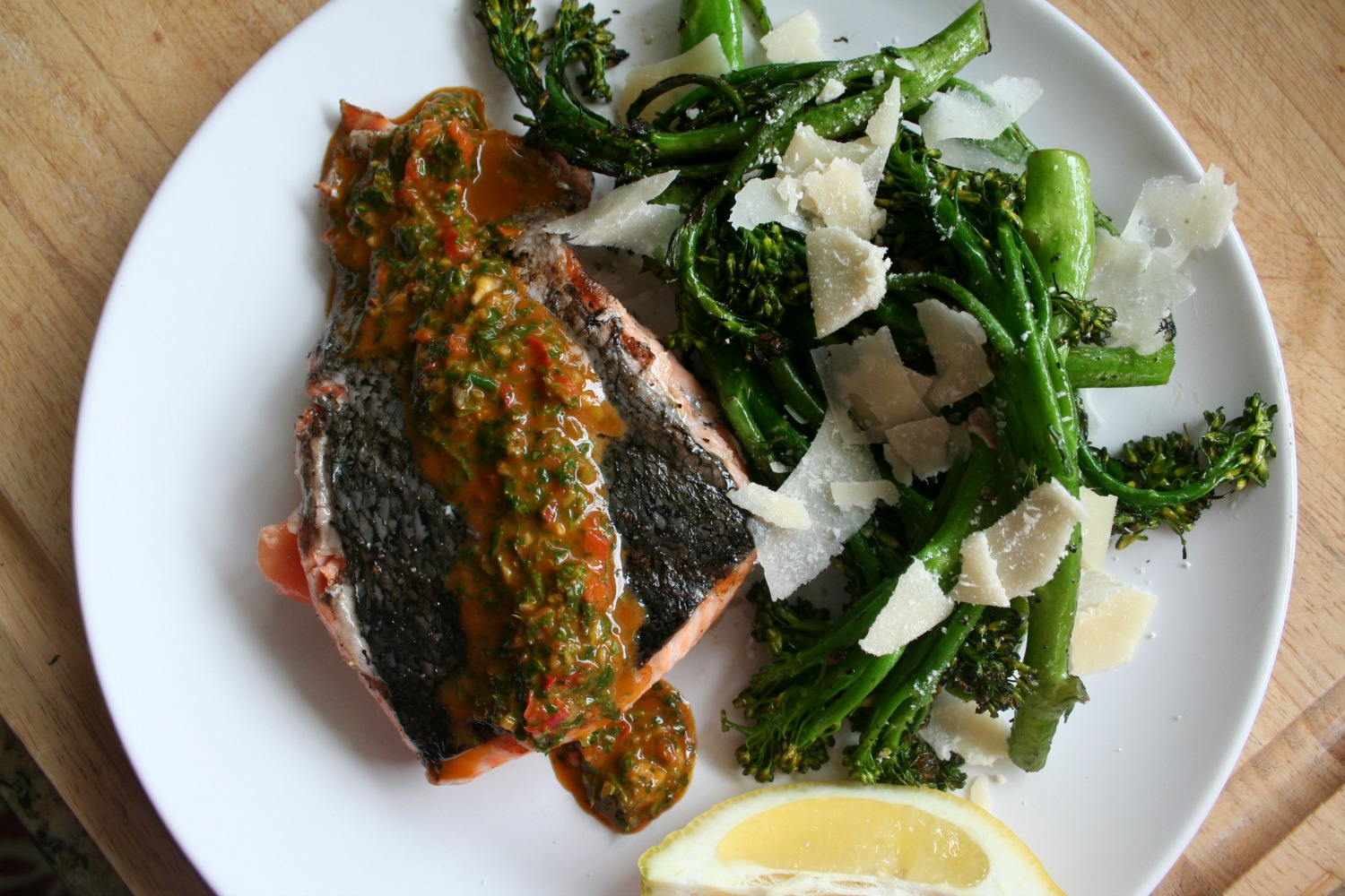 Grilled Salmon with Red Chimichurri 1