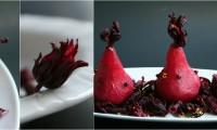 Flor de Jamaica Poached Pears