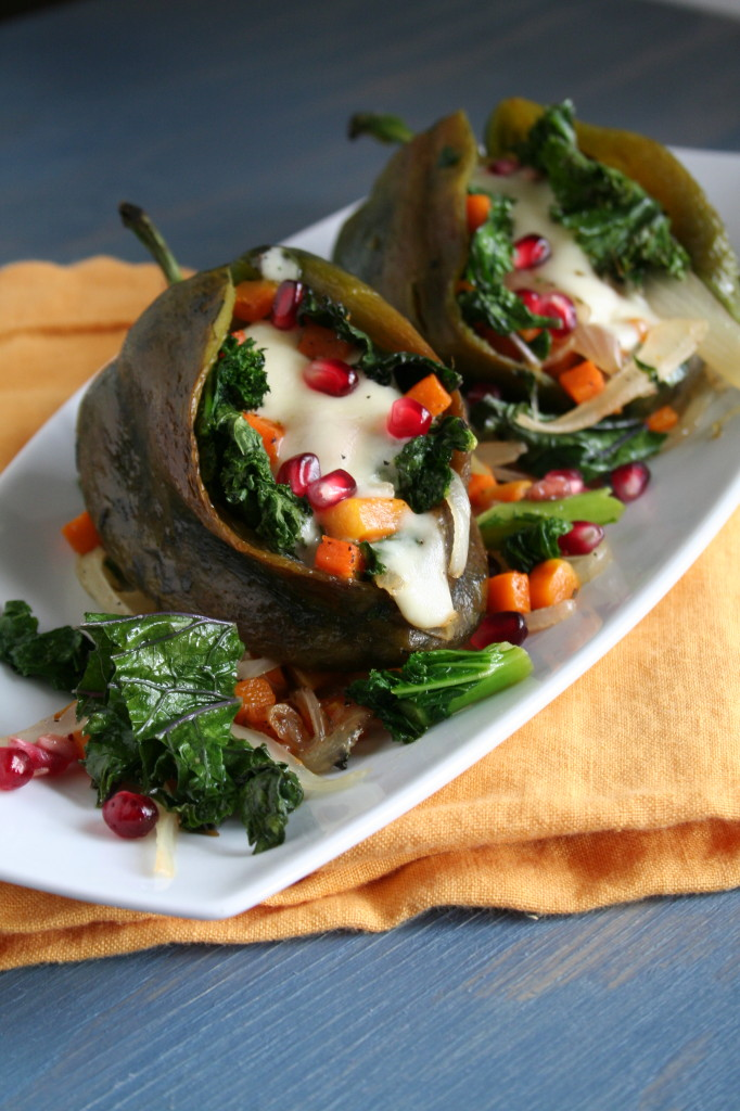 Kale and Butternut Squash Stuffed Poblano Peppers