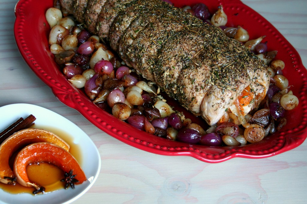Porksgiving Calabaza en tacha stuffed pork loin