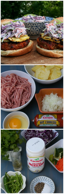 Cacique Soy Chorizo Burgers w Creamy Slaw | LatinoFoodie.com
