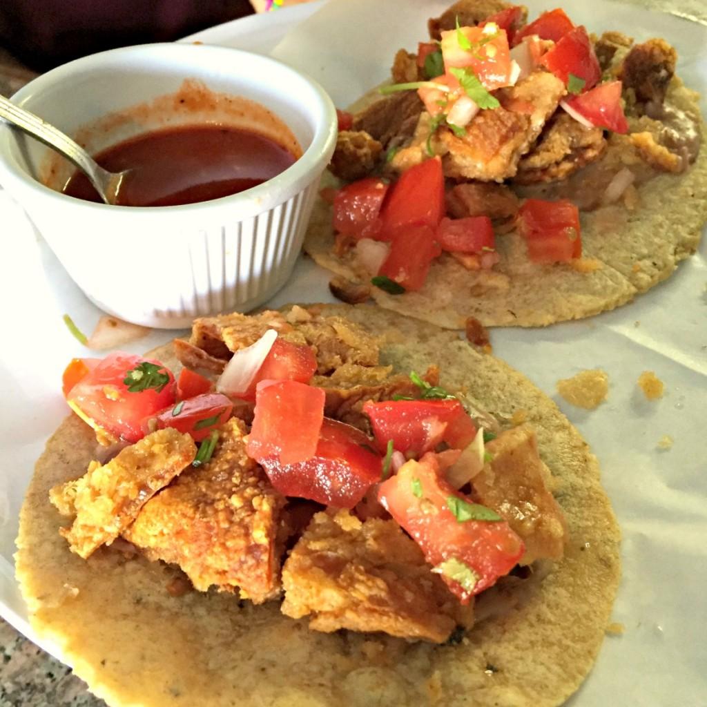 Tacos de Chicharron at La Azteca