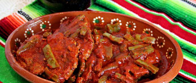 CHULETAS CON NOPALITOS EN SALSA GUAJILLO – Smoky, Spicy, Flavorful!
