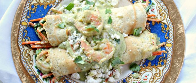 Shrimp Crepes with Creamy Poblano Sauce
