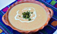 Creamy Potato and Corn Soup with Poblano Peppers #HerenciaLeche