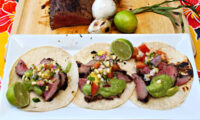 Grilled Tri Tip Tacos with a Corn and Pineapple Pico de Gallo Salsa